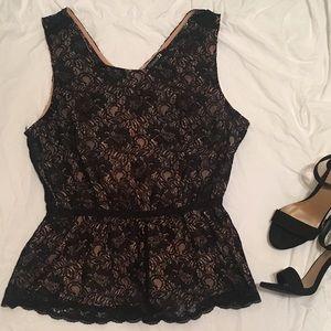 Black lace-overlay peplum shirt